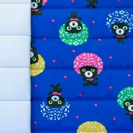 Nylon quilted lining fabric Afro bear - electric blue x 10cm