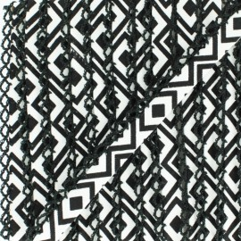 Biais replié bord crochet Géométrique 12 mm - noir x 1m