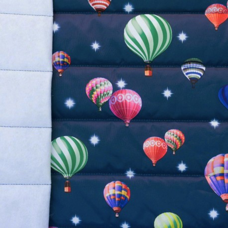 Nylon quilted lining fabric Air balloon - navy and multi x 10cm