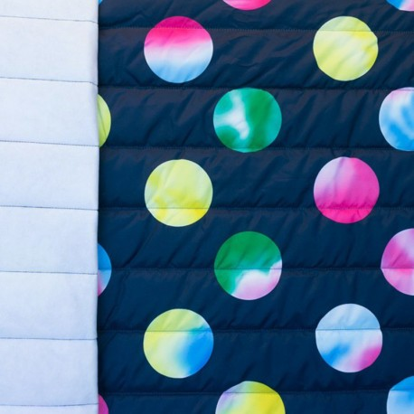 Nylon quilted lining fabric psychedelic circles - black x 10cm