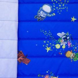 ♥ Coupon 200 cm X 150 cm ♥ Tissu matelassé nylon doudoune stranger things - bleu électrique
