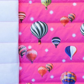 Nylon quilted lining fabric Air balloon - fushia and multi x 10cm