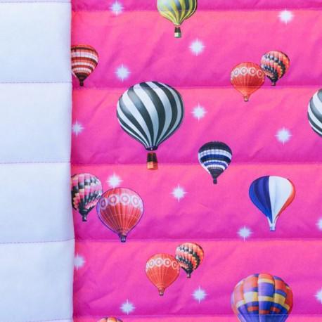 Nylon quilted lining fabric Air balloon - fushia and multi x 10cm