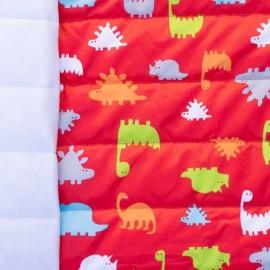 Tissu matelassé nylon doudoune dinosaure - rouge x 10cm