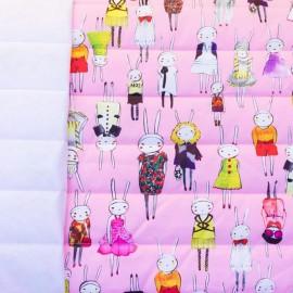 Tissu matelassé nylon doudoune Bunny - rose x 10cm