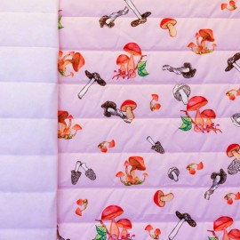 Tissu matelassé nylon doudoune Champignons - rose x 20cm