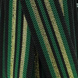 Ruban élastique rayé lurex Allure (50 mm) - vert doré x 1m