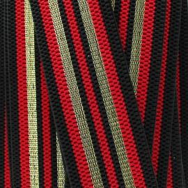 Ruban élastique rayé lurex Allure (50 mm) - rouge doré x 1m