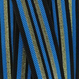 Ruban élastique rayé lurex Allure (50 mm) - bleu doré x 1m