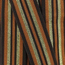"Striped lurex elastic band ""Allure"" (50 mm) - blue gold x 1m"