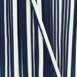 Bicolor polyester piping - navy/white x 1m