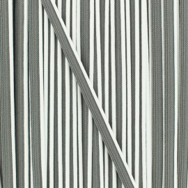 Bicolor polyester piping - white/grey x 1m