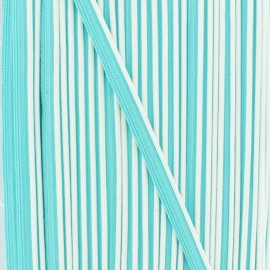 Bicolor polyester piping - white/turquoise x 1m