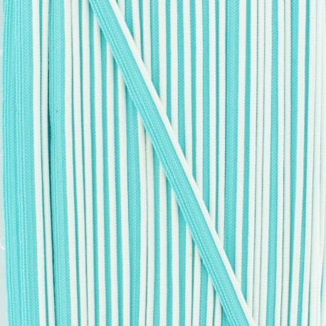 Passepoil bicolore polyester - blanc/turquoise x 1m