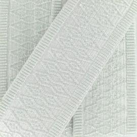 Ruban élastique Orient A (50 mm) - imprimé argent x 1m
