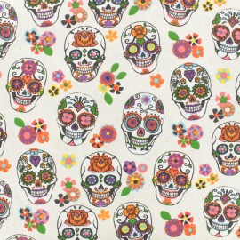 Coated cotton fabric skull - ivory x 10cm