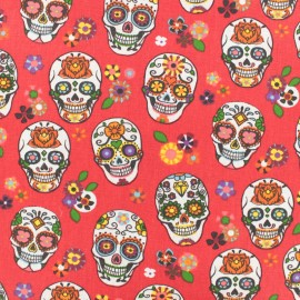 Coated cotton fabric skull - red x 10cm