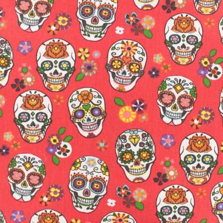 Cotton fabric skull - red x 10cm
