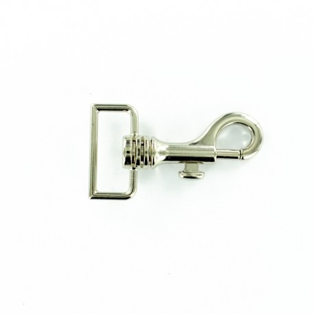 Mousqueton rectangle 30 mm - nickel