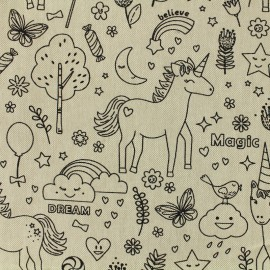 Cotton canvas fabric Unicorn - linen x 20cm