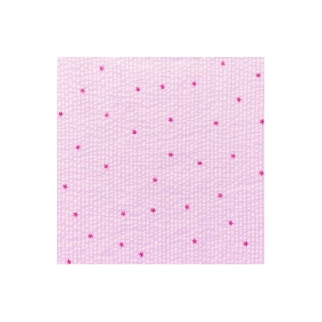 Little stripes with fushia stars on seersuker fabric - pink x 10cm