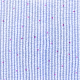 Little stripes with fushia stars on seersucker fabric - jean x 10cm