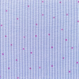 Little stripes with fushia stars on seersucker fabric - cobalt x 10cm