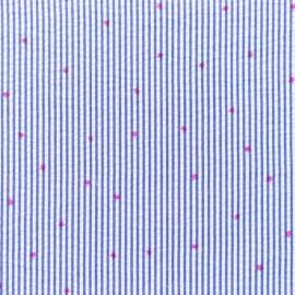 Tissu Seersucker petites rayures étoiles fuchsia - cobalt x 10cm