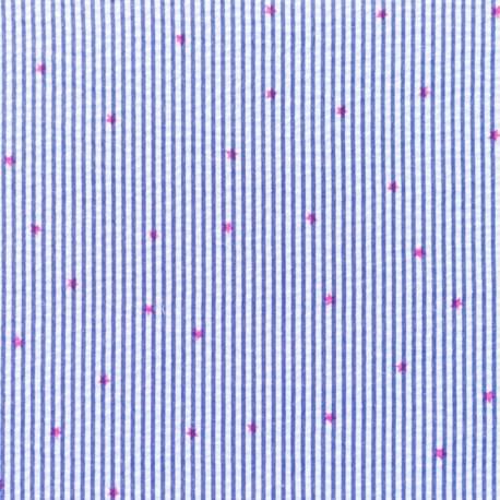 Little stripes with fushia stars on seersuker fabric - cobalt x 10cm
