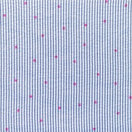 Tissu Seersucker petites rayures étoiles fuchsia - bleu foncé x 10cm