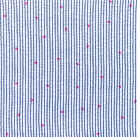 Little stripes with fushia stars on seersuker fabric - dark blue x 10cm