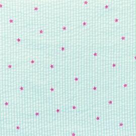Tissu Seersucker petites rayures étoiles fuchsia - citron vert x 10cm