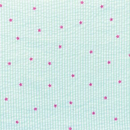Little stripes with fushia stars on seersuker fabric - lime x 10cm