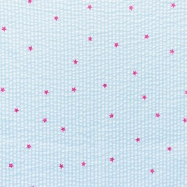 Little stripes with fushia stars on seersucker fabric - mint x 10cm