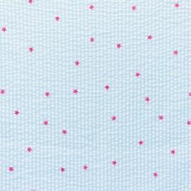 Tissu Seersucker petites rayures étoiles fuchsia - mint x 10cm