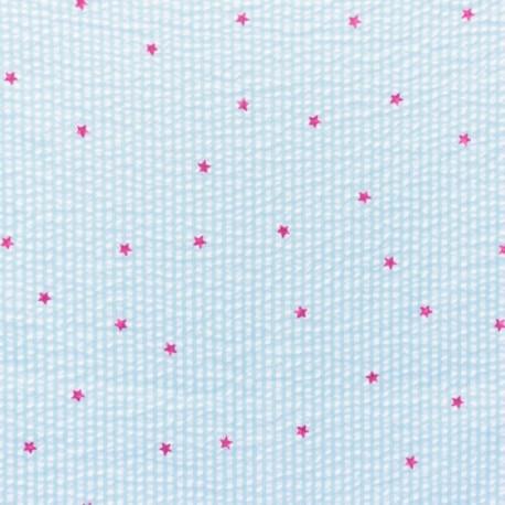Little stripes with fushia stars on seersuker fabric - mint x 10cm