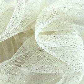 Tulle Haute qualité pailleté ivoire x10cm