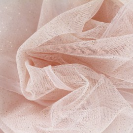 Luxury Sequined Tulle - salmon pink x 10cm