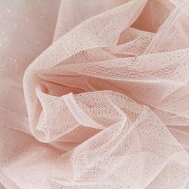 Tulle Haute qualité pailleté rose saumon  x10cm