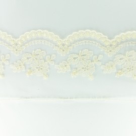 Embroidery on tulle Ribbon C - ecru x 50cm