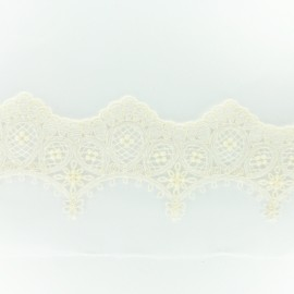 Embroidery on tulle Ribbon E - ecru x 50cm