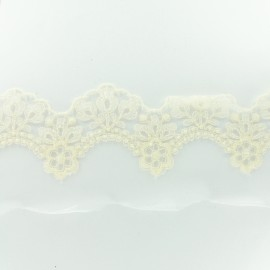 Embroidery on tulle Ribbon J - ecru x 50cm