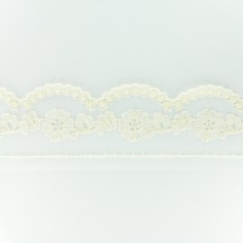 Embroidery on tulle Ribbon L - ecru x 50cm