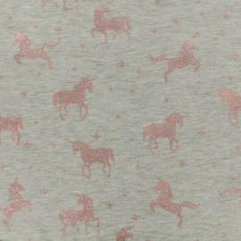 Tissu jersey Unicorns glitter - gris/rose x 10cm