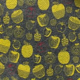 Tissu sweat léger pommes moutarde - gris x 10cm