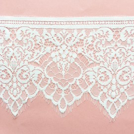 Embroidery on tulle Ribbon N - ecru x 50cm