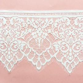 Ruban dentelle polyamide à franges - blanc x 50cm