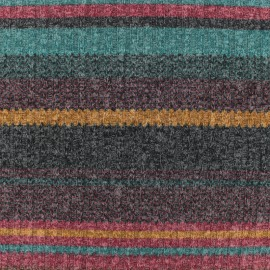 Tissu jersey maille Color rayures - prune x 10cm