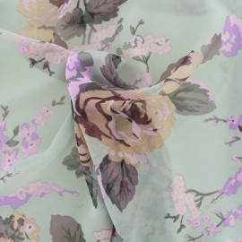 ♥ Coupon 350 cm X 145 cm ♥ Floral muslin Fabric - grey and coral