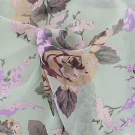 Tissu mousseline fleurie - gris/taupe x 10cm